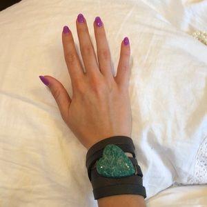 Jewelry - Heart Stone Leather Bracelet